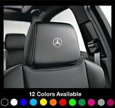6x MERCEDES Logo Headrest Car Seat Decals Stickers Amg A B C E S Class Clk Slk