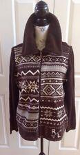Ralph Lauren Pike Brown Fitness ZIPPER Front Wool Blend Cardigan Sweater XL