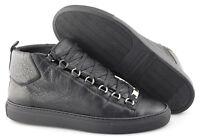 Men's BALENCIAGA 'Arena' Black Leather Sneakers Size US 7 EUR 40