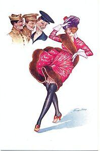 Erotik, Frau mit erhobenem Rock, Herren, sign. Xavier Sager, um 1920
