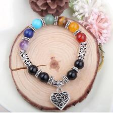 8mm Natural 7 Charka GEMSTONE Stones Round Beads Tibet Silver Bracelet Bangle