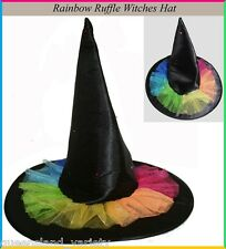 Rainbow Ruffles WITCH HAT with FLASHING LIGHTS Halloween Wizard Oz Costume Party