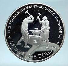 1988 CANADA Queen Elizabeth II Blacksmith Anvil Hammers Silver $1 Coin i78275