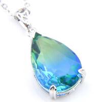 Teardrop London Blue Rainbow Bi Colored Tourmaline Gems Silver Necklace Pendants