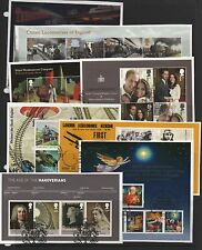 GB 2011 complete year-set of MINISHEETS 8 fine used sets of stamps on Piece