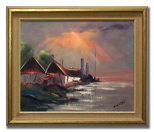 E. W. FREIJ / FARM BY THE SEA - Original Swedish Oil Painting