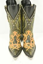 CORRAL WOMENS 6.5 M BROWN LEATHER JEWELED POINT TOE CLASSIC WESTERN COWBOY BOOTS