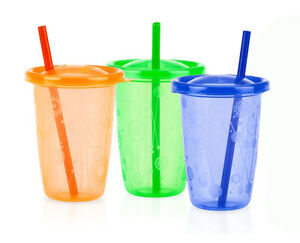 Nuby Stackable Wash or Toss Straw Cups 3-Pack