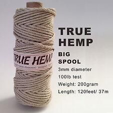 TRUE HEMP big spool - NATURAL (no dye) 3mm /100lb - 120feet/ 37m - 200gram each