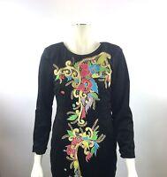 VTG Black Velvet Embroidered Filigree Bold Gold Knee Length Sheath Dress Sz 4/6
