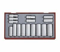 TENG TOOLS 3/8 DRIVE DEEP SOCKET SET 6 POINT HEX SOCKETS 7mm > 22mm IN CASE