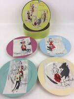 Rosanna Entertaining Women Set of 4 Salad Plates Dishes Retro