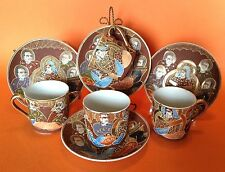 Satsuma 4 Demitasse Tea Cups And Saucers - Hand Painted Brown And Gold - Japan