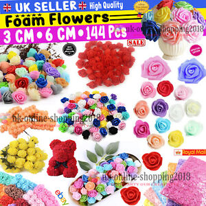 100 Pcs Large 6CM Artificial Flowers Foam Rose Heads Wedding Party Decor Bouque