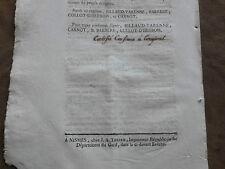 EXTRAIT REGISTRES DIRECTOIRE DEPARTEMENT DU GARD.3 Pluviose an second Republique