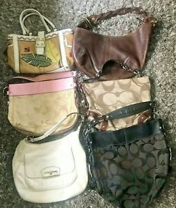 Coach Purse Lot of 6 Straw Leather Jacquard Logo Pink Brown White Satchel Bag