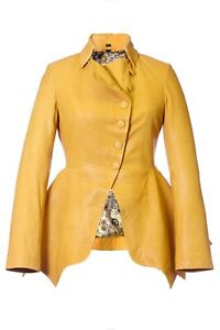 Women's Yellow Leather Button Fitted Tailored Peplum Nipped Waist Jacket Impero