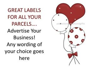 BALLOONS & RED HEART AND BOW  STICKERS PERSONALISED STICKY ADDRESS LABELS CRAFTS
