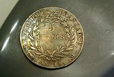 NAPOLEON EMPEREUR   5 FRANCS ARGENT AN 13 M = TOULOUSE