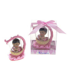 Mega Favors - Ethnic Baby Girl Sitting in Hanging Basket Poly Resin - Pink,12Pcs