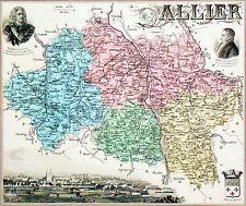 CARTE ANCIENNE- ALLIER (vu et armes de MOULINS)- Portrait de Péron & Villars