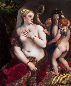 Titian - Venus with a Mirror, 1555, Museum Art Poster, Canvas Print