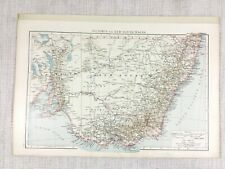 1898 Antique Map of Australia Victoria New South Wales Old 19th Century Original