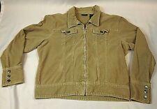 Womens Corduroy Jacket Tan Fashion Zip Front Coat Baileys Point -XL (18)