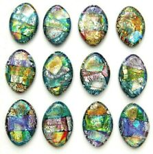 Lot of 12 pcs OVAL DICHROIC FUSED GLASS pendant (P16) CABOCHONS HANDMADE