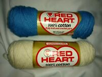 Yarn Skein Coats & Clark Red Heart 4 ply 2.5 oz Cotton White Blue Lot of 2