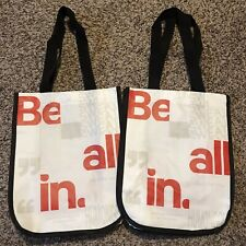 New Lululemon Reusable Shopping Gift Bag This Is Yoga White Red Tote (LOT of 2)