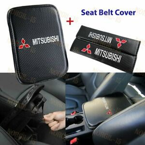 Embroidery Center Armrest Cushion Mat Pad w/ Seat Belt Cover Set For MITSUBISHI