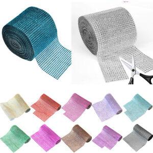 10 Yards Diamond Rhinestone Ribbon Mesh  Wrap Wedding Decor 24 Row Trimming