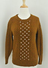 J CREW Embellished Honeycomb Cable Sweater XS beaded stud tobacco #B5288
