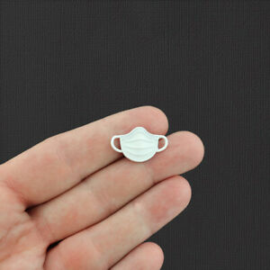 2 Face Mask White Enamel Charms - E530