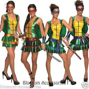 CL652 Teenage Mutant Ninja Turtles TMNT Womens Adult Fancy Dress Costume Outfit