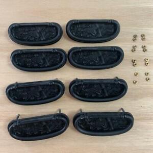 Japanese Metal Parts Chest Tansu Vtg Handle 8pc Set