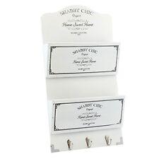 Vintage Style Shabby Chic White Wooden Letter Organiser Holder Key Rack Hooks