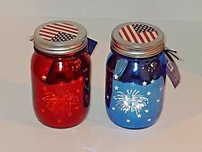Nw Patriotic Led Mason Jar Lights Lighted Red Blue Stars Fireworks July 4th