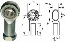 6mm Female Rod End Bearing, Left Hand Thread M6X1.00 Rose Joint, Nylon Liner