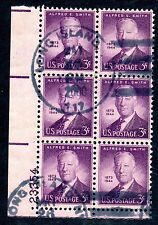 Sc# 937 Plate Block used of 6 pl# 23354 Alfred Smith