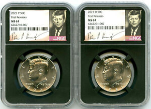2021 P & D KENNEDY NGC MS67 HALF DOLLAR MATCHING 2 COIN SET FIRST RELEASES