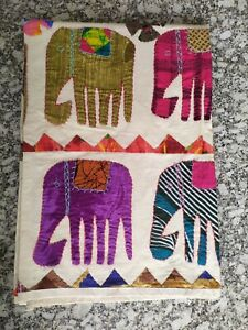 Indian Handmade Kantha Quilt Cotton Blanket Throw Twin BedCover Elephant Floral