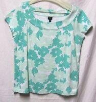 RAFAELLA STUDIO Large 10/12 Bust 40 top shirt Green/white multi great basic