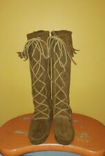 MINNETONKA SUEDE LACE UP BOOTS WOMEN SIZE 8