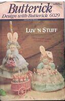 "6029 UNCUT Vintage Butterick Sewing Pattern 15"" Rabbit 4.5"" Bunnies Luv N Stuff"
