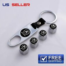 ACURA VALVE STEM CAPS + KEYCHAIN WHEEL TIRE CHROME - US SELLER VS02