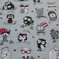 Cute Smart Love Owls Grey 100% cotton Fabric 160 cm wide sewing patchwork craft