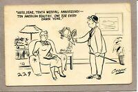 Postcard Artist Signed Cooper Comic Risque Wedding Anniversary Unhappy Man 620A
