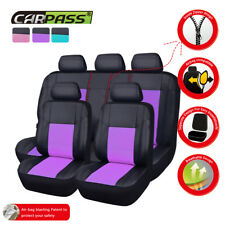 Universal Car Seat Covers Leather Purple For Women Girls Airbag Ready Rear Split